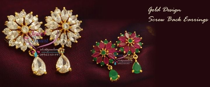 Gold-design-screw-back-semi-precious-stones-traditional-earrings