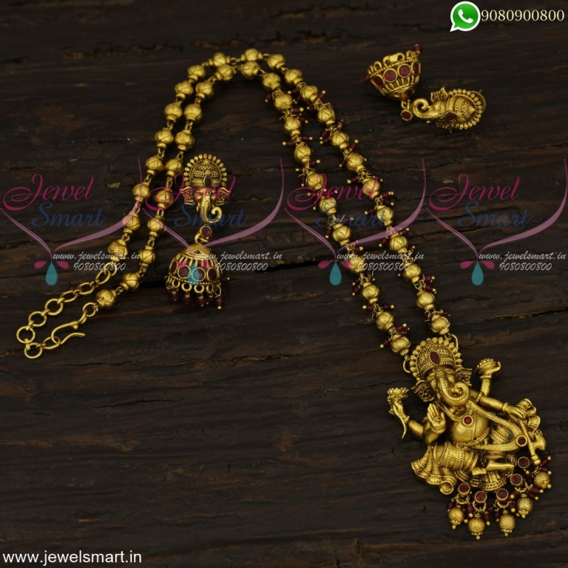 Divine Lord Ganesha Designer Gold Necklace Designs Rare Beaded Jewellery Nl22628