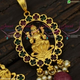 1 Gram Gold Temple Jewellery Pendant Sets Real Kemp Collections Online PS21734