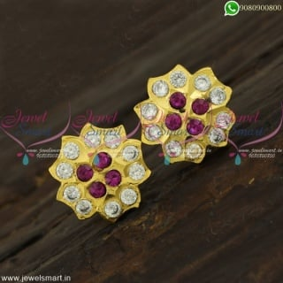 14AD Stones Gold Kammal Designs Thick Metal Ear Studs For Daily WearER22167
