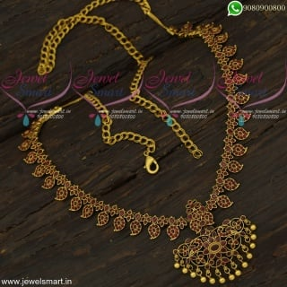 2 In One Hip Chain Latest Stone Vaddanam Chain Type Flexible Long Necklace