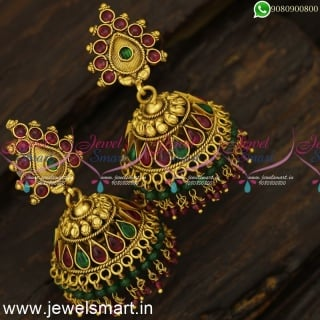 2 Line Beads Antique Gold Jhumka Earrings Trending Jimikki Kammal Designs J24251