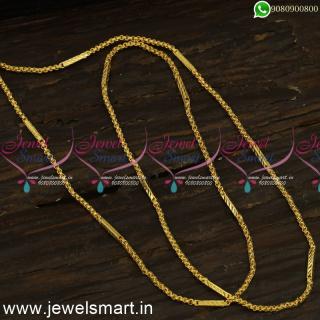 24 Inches Capsule Mugappu Thin Gold Chain Designs For Regular Wear C24295
