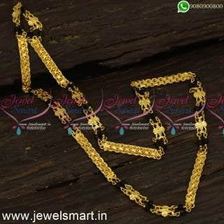 24 Inches Gold Chain Designs For Women Multi Cut Black Crystal Latest