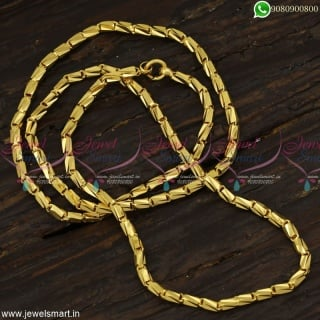24 Inches Tube Cutting Fancy Gold Chain Designs For Ladies Daily Wear ImitationC23159