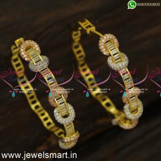 3 Colour Diamond Finish Watch Type CZ Designer Bali Earrings OnlineER24479