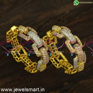 3 Colour Gold Silver and Rose Tone Diamond Finish Bali Earrings Online ER24480