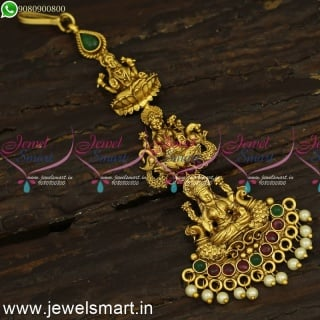 3 Layer Designer Temple Jewellery For Wedding New Arrivals Maang Tikka Antique Gold T24206