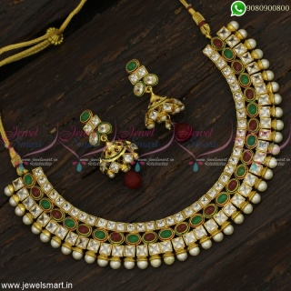 3 Layer Stones Fancy Necklace Set Dazzling White Red and Green Jhumka Earrings Online NL22879