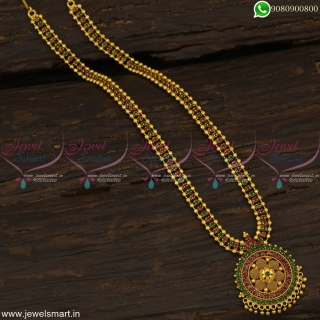 3 Line Beads and Stone Gold Haram Designs Online Latest Artificial Jewellery NL22804