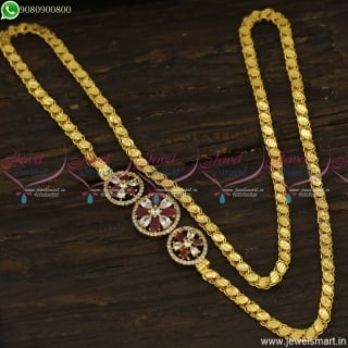3 Pendant Mugappu Design With Latest Gold Plated Chains 26 Inches Heart Pattern C23634