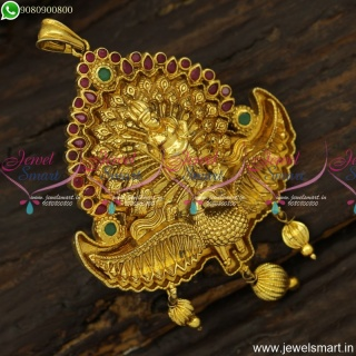 3D Embossed Lord Murugan Temple Jewellery Pendant Design Antique PS23907