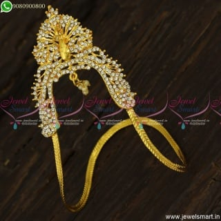 3D Peacock Face Design Gold Vanki Models Small Size Artificial White Stones V23469