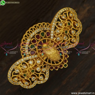 3D Peacock Face Jewellery Accessories for Hair Mayil Design Matte Look Collections H23707
