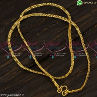 3 MM Flat 18 Inches Artificial Gold Chain Designs for Daily Wear South Indian Jewellery C23264