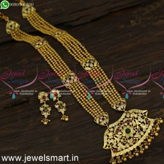 5 Line Min Mini Glowing Beads Long Gold Necklace Chillai Pendant Antique Jewellery NL24176