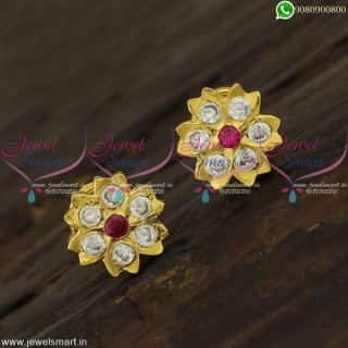 7 Stones Gold Plated Ear Studs For Elders Floral Design Light Weight Jewellery ER22160