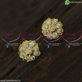 9 Kal Thodu Kammal Gold Plated Ear Studs Small Size Traditional Design ER22159