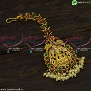 Admirable Pearl Maang Tikka Temple Jewellery NethiChutti New Bridal Wear Collections