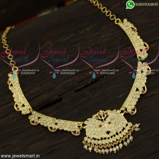 Admirable Traditional Gold necklace design Attigai Style Jewellery OnlineNL22215