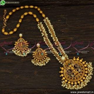 Adorable Pearl Temple Jewellery Divine Nagalakshmi Gold Design Malai Online