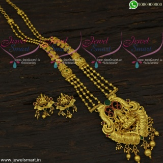 Adorable Temple Long Gold Necklace One gram Jewellery Beads Malai NL22066