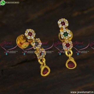 All New J Style 3 Flower Kammal Designs Gold Plated Daily Wear Studs Collections ER23601