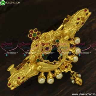 Amazing 3D Hair Clip One Gram Gold Jewellery Latest Fashion Peacock Feathers H23805