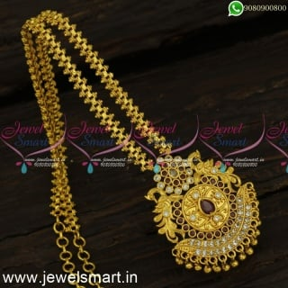 Amazing Dollar Chain Designs For Women One Gram Gold Peacock Jewellery Online PS24308
