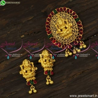 Amazing Gold Temple Jewellery Traditional Designs Pendant Set Small Ear Studs