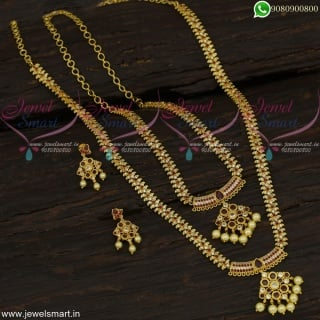 Amazing Long Necklace Combo Bridal Jewellery Set Gold Plated Latest NL22692