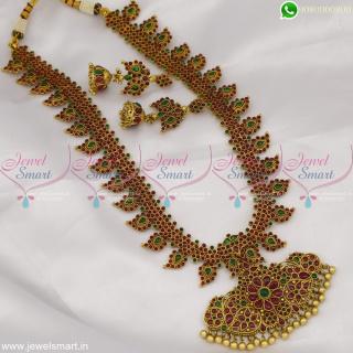 Amazing Manga Malai Gold Haram Designs in Imitation Kemp Stones Long Necklace Jhumka NL22970