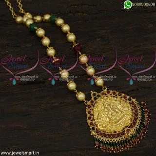 Amazing Pearl Temple Jewellery Lord Ganesha Crystal Pendant Beaded Designs