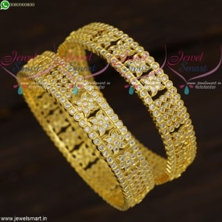 Jewellery Inspired By Gold American Diamond Stone Bangles Broad South Indian Collections B21636