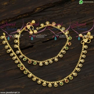 Anklets Leg Chains Gold Plated Daily Wear South Indian Covering Jewellery Collections A21716