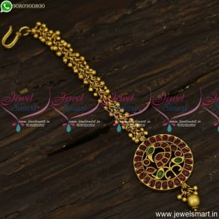 Antique Beads Jalar Chain MangTika Designs Traditional Gold Pattern Online T23853