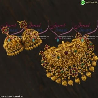Antique Big Size Peacock Matte Finish Pendant Set Jhumka Double Naka Online PS21737