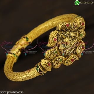 Antique Blackish Gold Kada Bracelets Temple Jewellery Hollow Collections Online B22915