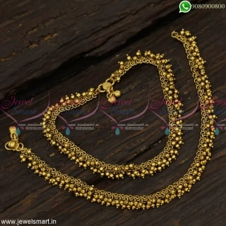 Antique Bridal Anklets Newest Pearl and Golden Beads Payal For Marriage P23047