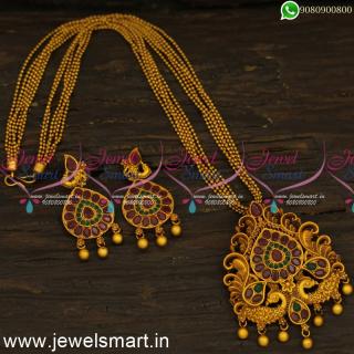 PS17692N Antique Designer Dollar Chain Designs For Women Trendy Matte Jewellery Online