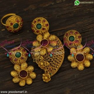 Antique Gold Designer Pendant Sets With Finger Rings Combo Artificial Jewellery PS23972