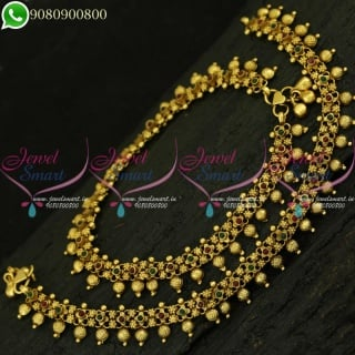 Antique Gold Plated Anklets Fancy Golusu Designs Kemp Jewellery