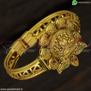 Antique Gold Plated Temple Bracelets For Women Traditional Jewellery Designs B22888