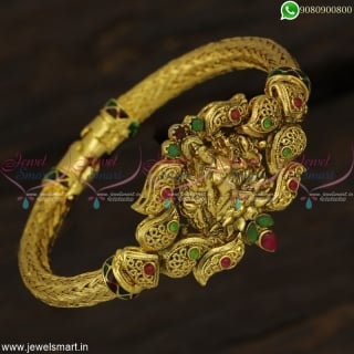 Antique Gold Plated Hollow Temple Kada Bracelets Traditional Jewellery Designs B22887