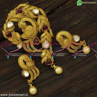 Antique One Gram Gold Jewellery Kundan Pendant Sets Beautiful WorkmanshipPS23969