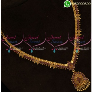 Appealing Fancy Stone Necklace Gold Covering South Indian Daily Wear Jewellery