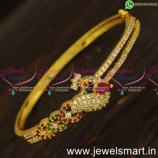 Artistic Gold Bracelet Design Ideas For Regular Wear Kada Valayal Clip Open