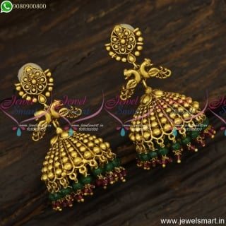 Attractive Beads Gold Model Jhumka Earrings For Wedding Trending Antique J23843