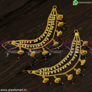Attractive Ear Chain With Jhumka Gold Plated Side Mattal Bahubali Jewellery EC23989