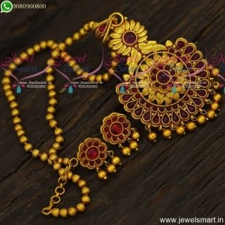Attractive Beads Malai Reddish Antique Gold Chain With Pendant and Small Earrings Online